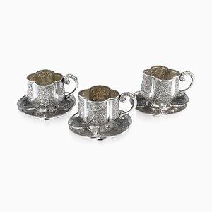 Antikes chinesisches Tee-Tassen-Untertassen Set aus massivem Silber von Nam-Hing, 1890er
