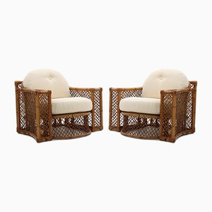 Vintage Rattan Armchairs by Giusto Puri Purini for Vivai del Sud, 1970s, Set of 2