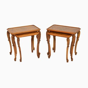 Antique Burl Walnut Nesting Tables, 1920s, Set of 4