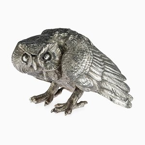 Antique 19th Century German Solid Silver Prowling Owl Sculpture, 1890s