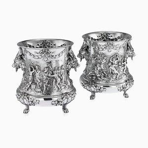 Deutscher Antiker Antiker Weinkühler aus Silber von Georg Rot für Hanauer Silberwaren-Manufaktur, 1890er, 2er Set