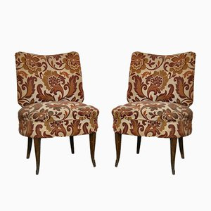 Vintage Italian Walnut Dining Chairs with Rubelli Fabric, 1930s, Set of 2