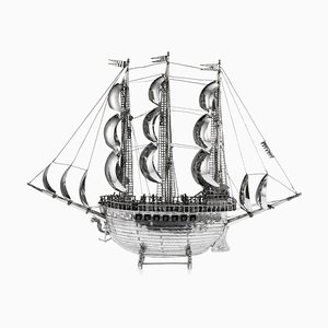 Large Vintage German Solid Silver Neff Galleon Ship Model, 1930s