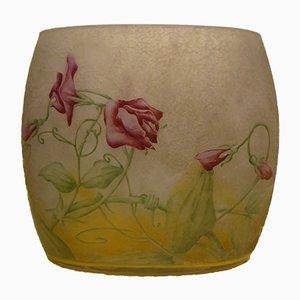 Antike Französische Geätzte Cameo Kunstglas Vase von Daum Nancy