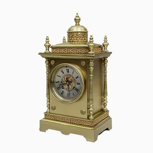 French Brass Mantel Clock from Japy Freres, 1980s