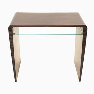 Italian Modern Console Table with Glass Shelf, 1940s