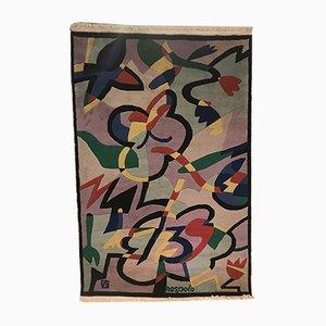 Tappeto con fiori e farfalle di Ugo Nespolo per Elio Palmisano, Italia, 1986