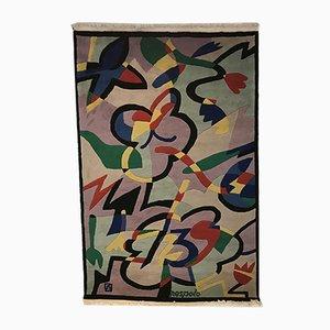 Tapis Fleurs et Papillons par Ugo Nespolo pour Elio Palmisano, Italie, 1986