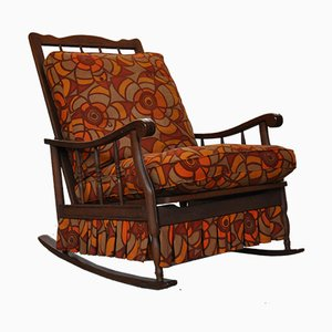 Vintage Italian Wooden Rocking Chair with Pillows in Original Fabric, 1970s