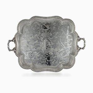 Antikes Französisches Tablett aus Solidem Silber und Niello, 19. Jh., 1870er