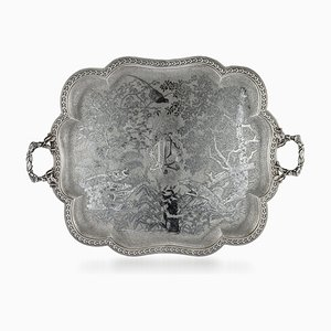 Antique 19th Century French Solid Silver and Niello Serving Tray, 1870s