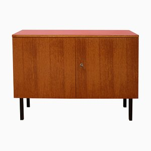 Small Teak and Red Formica Sideboard, 1960s