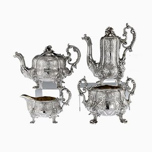 Antique 19th Century French Solid Silver Tea and Coffee Set from Odiot, 1870s, Set of 4