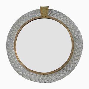 Vintage Italian Round Murano Glass Treccia Mirror by Carlo Scarpa for Venini, 1950s