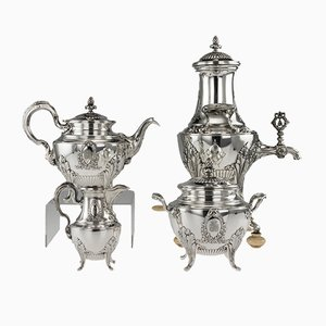 Antique 19th Century Empire French Solid Silver Tea Service from Alphonse Debain, 1880s, Set of 4
