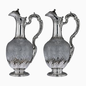 Antique 19th Century French Solid Silver and Glass Claret Jugs from Moutot, 1890s, Set of 2