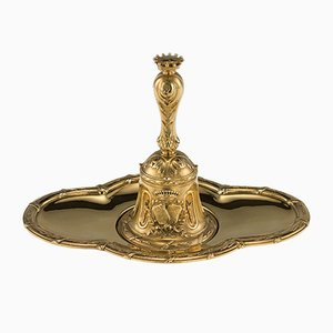 Antique 19th Century French Solid Silver and Gilt Dinner Bell on Stand from Quizille Lemcine, 1880s