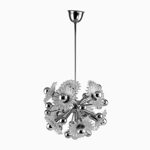 Sputnik Chrome Dandelion Ceiling Lamp, 1970s