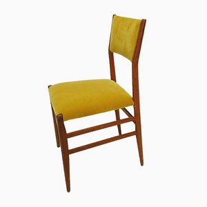 Yellow Velvet Dining Chair by Gio Ponti for Cassina, 1950s