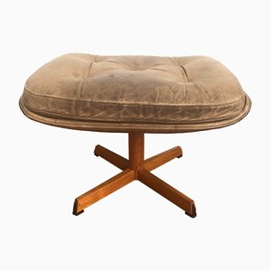 Danish Wooden Stool with Leather Seat Cushion, 1960s