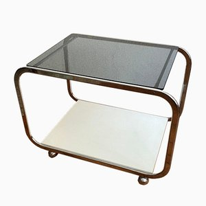 Smoked Glass & White Wood Coffee Table with Shelf on Wheels, 1970s