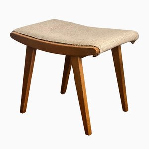 Wooden Stool with Seat in Fabric, 1960s
