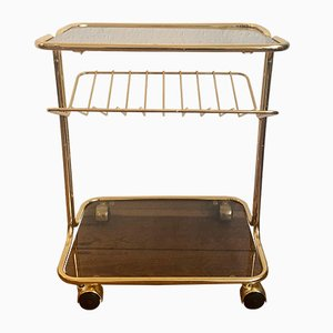Golden Serving Trolley with Glass Shelf, 1950s