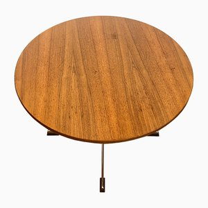 Round Wooden Kitchen Table, 1950s