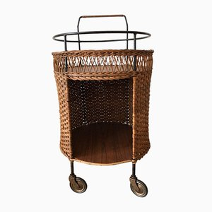 Rattan Basket Serving Bar Cart, 1960s