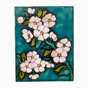 Large Fat Lava Tile with Flower Motif, 1970s