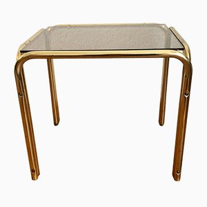 Golden Side or Plant Table with a Smoked Glass Shelf, 1970s