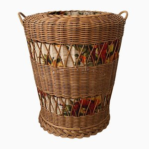Rattan Laundry Basket Stool, 1950s