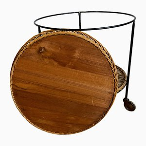 Rattan Serving Trolley with Iron Rack, 1960s