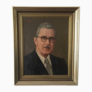 Portrait in Gold Frame Oil, 1950s
