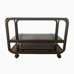 Brown Metal and Smoked Glass Serving Trolley, 1970s