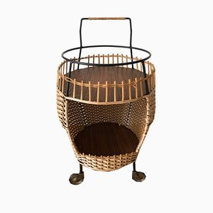 Basket, Poly & Rattan Serving Bar Trolley, 1950s