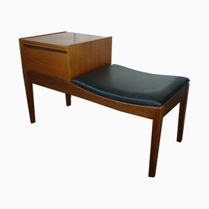 Vintage Teak Telephone Bench Unit with Vinyl Seat, 1960s