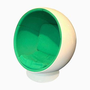 Finnish Space Age Green and White Ball Chair by Eero Aarino for Adelta, 1980s