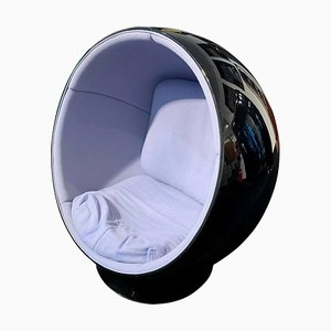 Finnish Black and Blue Ball Chair by Eero Aarino for Adelta, 1980s