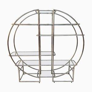 Verchromtes Deutsches Wandregal aus Stahlrohr & Glas im Bauhaus Stil, 1950er