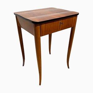 German Biedermeier Cherry Veneer Sewing or Side Table, 1830s
