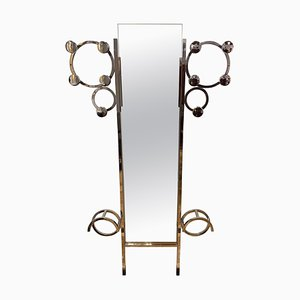 Art Deco Kleiderschrank mit verchromten Stahlrohren und Spiegel, Frankreich, 1930er