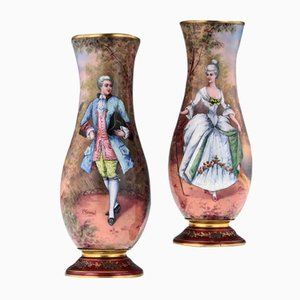 Antique French Hand Painted Enamel Limoges Vases, 1910s, Set of 2
