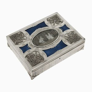 Antique Art Nouveau French Solid Silver and Enamel Casket, 1900s