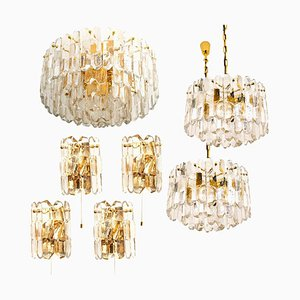 Gilt Brass and Glass Palazzo Chandeliers, 1970s, Set of 7