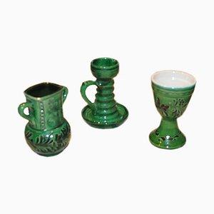 Ungarisches Volkskunst Glasierte Vintage Keramik Set