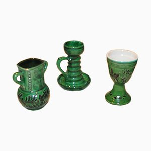 Vintage Hungarian Folk Glazed Ceramic Set