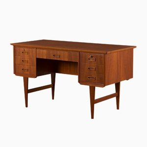 Danish Teak Free Standing Desk with 7 Drawers, 1960s