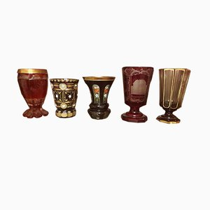 Antique Goblets from Bohemian Glassmakers , Set of 5