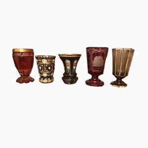 Gobelets Antiques de Bohemian Glassmakers, Set de 5